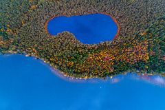 Aerial top view of two lakes in forest stock photography
