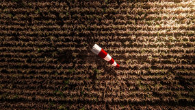 Aerial Top View Windsock on The Corn Farm Harvest Season Royalty Free Stock Photo