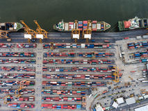 Aerial topdown shot of large bangkok shipping port. Taken in afternoon, useful for commercial shipping industry concepts royalty free stock image