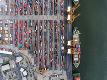 Aerial topdown shot of large bangkok shipping port Royalty Free Stock Images