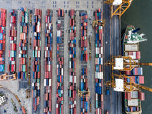 Aerial topdown shot of large bangkok shipping port Royalty Free Stock Photo