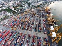 Aerial topdown shot of large bangkok shipping port Royalty Free Stock Photography