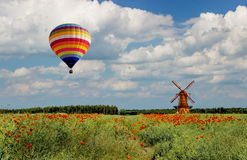 Aerial tour above the plain fields of eastern Poland Stock Images