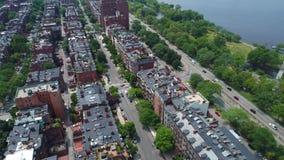 Aerial tour Beacon Street boston 4k prores stock video footage