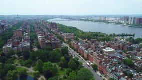 Aerial tour Beacon Street boston 4k prores stock footage