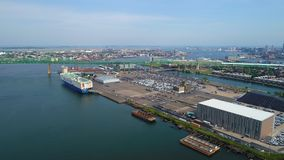 Aerial tour of the Boston Autoport stock footage