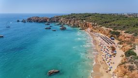 Aerial. Tourist beaches of the Portuguese city of Portimao. Shooted by drones. Algarve royalty free stock images