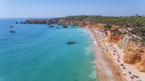 Aerial. Tourist beaches of the Portuguese city of Portimao. Shooted by drones. Algarve royalty free stock photography