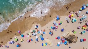 Aerial. Tourist beaches of the Portuguese city of Portimao. Shooted by drones. Algarve royalty free stock image