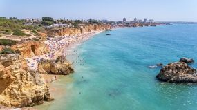 Aerial. Tourist beaches of the Portuguese city of Portimao. Shooted by drones. Algarve stock image