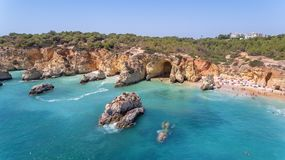 Aerial. Tourist beaches of the Portuguese city of Portimao. Shooted by drones. Algarve stock photo