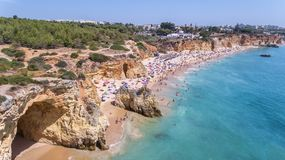Aerial. Tourist beaches of the Portuguese city of Portimao. Shooted by drones. Algarve stock photography