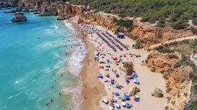 Aerial. Tourist beaches of the Portuguese city of Portimao. Shooted by drones. Algarve stock photos