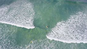 Tourists surfing in the sea 4k. Aerial of tourists surfing in the sea 4k stock video footage