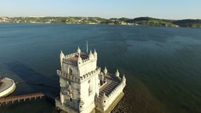 Aerial from the tower of Belem in Lisbon Portugal stock video