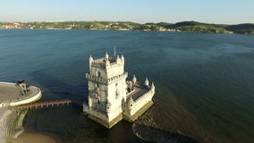 Aerial from the tower of Belem in Lisbon Portugal stock footage