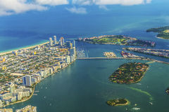 Aerial of town and beach of Miami Stock Images