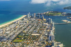 Aerial of town and beach of Miami Stock Photos