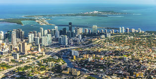 Aerial of town and beach of Miami Royalty Free Stock Images