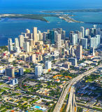 Aerial of town and beach of Miami Stock Image