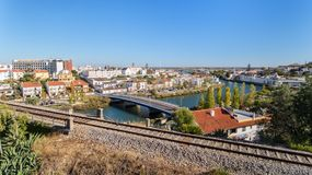 Aerial. The town of Tavira on the River Arade and railroad. Aerial. The town of Tavira on the River Arade and the railroad Stock Photo