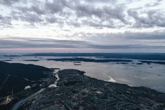 Aerial Townscape Bay View. Of Kandalaksha Town located in Kola Peninsula in Nothern Russia Stock Image