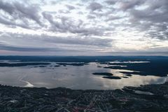 Aerial Townscape Bay View. Of Kandalaksha Town located in Kola Peninsula in Nothern Russia Royalty Free Stock Photo