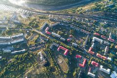 Aerial Townscape of Kandalaksha Town. Located in Kola Peninsula in Nothern Russia Stock Images