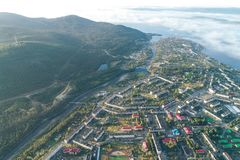Aerial Townscape of Kandalaksha Town. Located in Kola Peninsula in Nothern Russia Royalty Free Stock Images