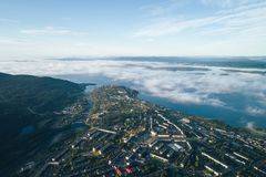 Aerial Townscape of Kandalaksha Town. Located in Kola Peninsula in Nothern Russia royalty free stock photo