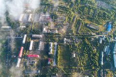 Aerial Townscape of Kandalaksha Town. Located in Kola Peninsula in Nothern Russia Stock Photo