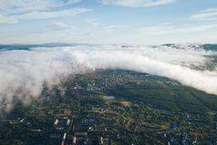 Aerial Townscape of Kandalaksha Town. Located in Kola Peninsula in Nothern Russia stock photography
