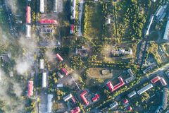 Aerial Townscape of Kandalaksha Town. Located in Kola Peninsula in Nothern Russia royalty free stock image