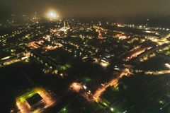 Aerial Townscape at Night. Aerial Townscape of Kandalaksha Town located in Kola Peninsula in Nothern Russia at Night royalty free stock images