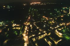 Aerial Townscape at Night. Aerial Townscape of Kandalaksha Town located in Kola Peninsula in Nothern Russia at Night stock photo