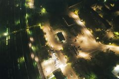 Aerial Townscape at Night. Aerial Townscape of Kandalaksha Town located in Kola Peninsula in Nothern Russia at Night royalty free stock image
