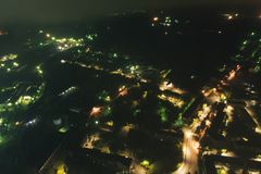 Aerial Townscape at Night. Aerial Townscape of Kandalaksha Town located in Kola Peninsula in Nothern Russia at Night royalty free stock photography