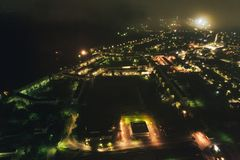 Aerial Townscape at Night. Aerial Townscape of Kandalaksha Town located in Kola Peninsula in Nothern Russia at Night stock photos