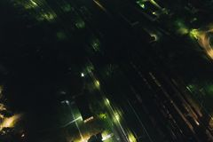 Aerial Townscape at Night. Aerial Townscape of Kandalaksha Town located in Kola Peninsula in Nothern Russia at Night stock images