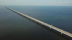 Aerial tracking shot of overseas highway stock video