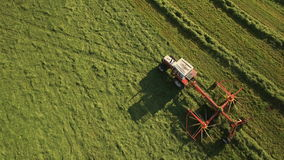 Aerial of Tractor collects Hay on the field in a green line sunny day in the mountains in 4K stock video footage
