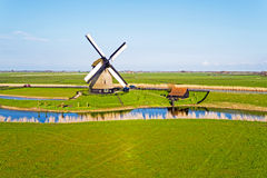 Aerial from a traditional ancient windmill in Netherlands Royalty Free Stock Photo