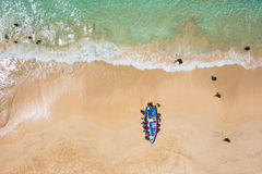 Aerial of a traditional fisher boat in Santa Maria  in Sal Islan Royalty Free Stock Photo