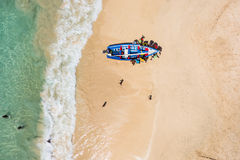 Aerial of a traditional fisher boat in Santa Maria  in Sal Islan Stock Photography