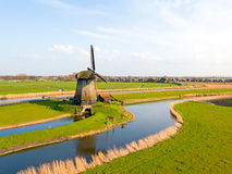 Aerial from a traditional windmill in a dutch landscape in the N Royalty Free Stock Photos