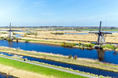 Aerial from traditional windmills at Kinderdijk in the Netherlan Stock Images