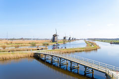 Aerial from traditional windmills at Kinderdijk in the Netherlan Royalty Free Stock Images