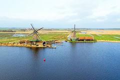 Aerial from traditional windmills at Zaanse Schans in Nether Stock Photo