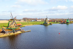 Aerial from traditional windmills at Zaanse Schans the Nether Royalty Free Stock Photo