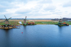 Aerial from traditional windmills at Zaanse Schans in the Nether Royalty Free Stock Images
